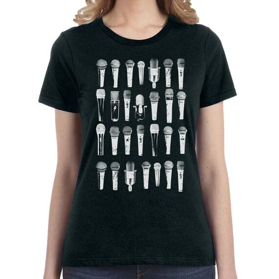 Microphone T-Shirt, Musician Tshirt Mens Women Ladies Funny Geek Music Retro Vinyl Shirt Vintage Vinyl Music Lover