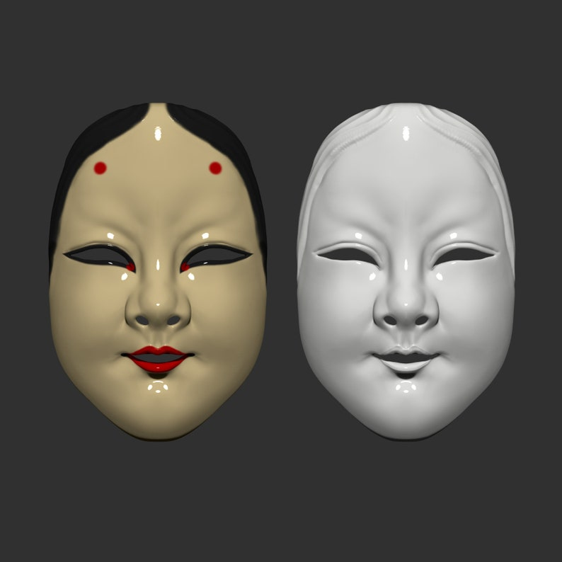 Noh Mask  Halloween Cosplay STL File Japanese Mask The Deep World of Noh Digital Download