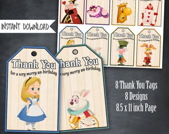 Alice in Wonderland Thank You Tags, Alice Birthday Favors, Alice In Wonderland Party, Alice Birthday Party, Mad Hatter Tags, Printables