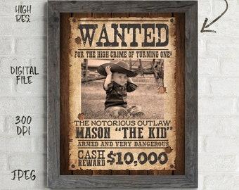 Wanted Birthday Sign, Wanted Birthday Poster, Cowboy Party, Cowboy Birthday, Wanted Birthday Sign, Wanted Sign, DIY, Printables, Digital