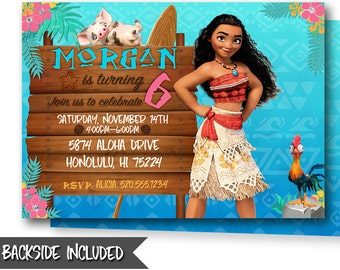 Moana Birthday Invitation Invitations Party Printables Personalized
