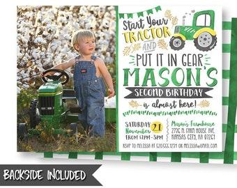 Tractor Picture Invitation, Green Tractor Invitation, Barnyard Invitation, Farm Party, Farm Invitation, Invitation, Printable, Personalized