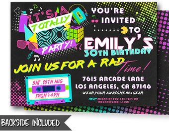 80 s party invitation 80s party retro invite etsy