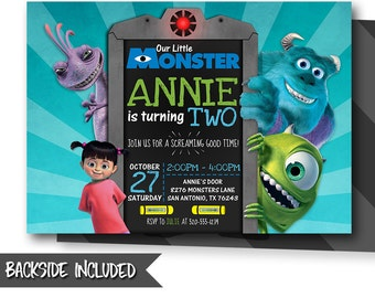 monsters inc birthday invitation etsy