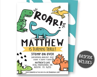 Dinosaur Birthday Invitation T Rex Invitations Party Printables Personalized