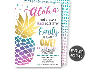 Pineapple Invitation Birthday Party Luau Hawaiian Printable Digital Personalized