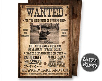 Wanted Poster Invitation Cowboy Birthday Party Picture Western Personalized Invite Digital Printables