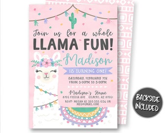 Llama Invitation Birthday Invitations Party Printables Personalized Fun Printable