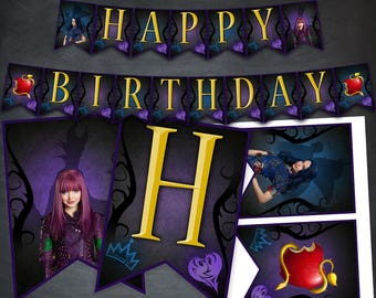 Descendants Banner Birthday Party Printables Mal And Evie