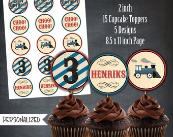 photo about Free Printable Thomas the Train Cup Cake Toppers known as Educate cupcake topper Etsy