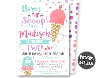 Retro ice cream social invitations