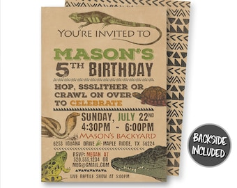 Reptile Birthday Invitation Printable Lizard Invite Snake