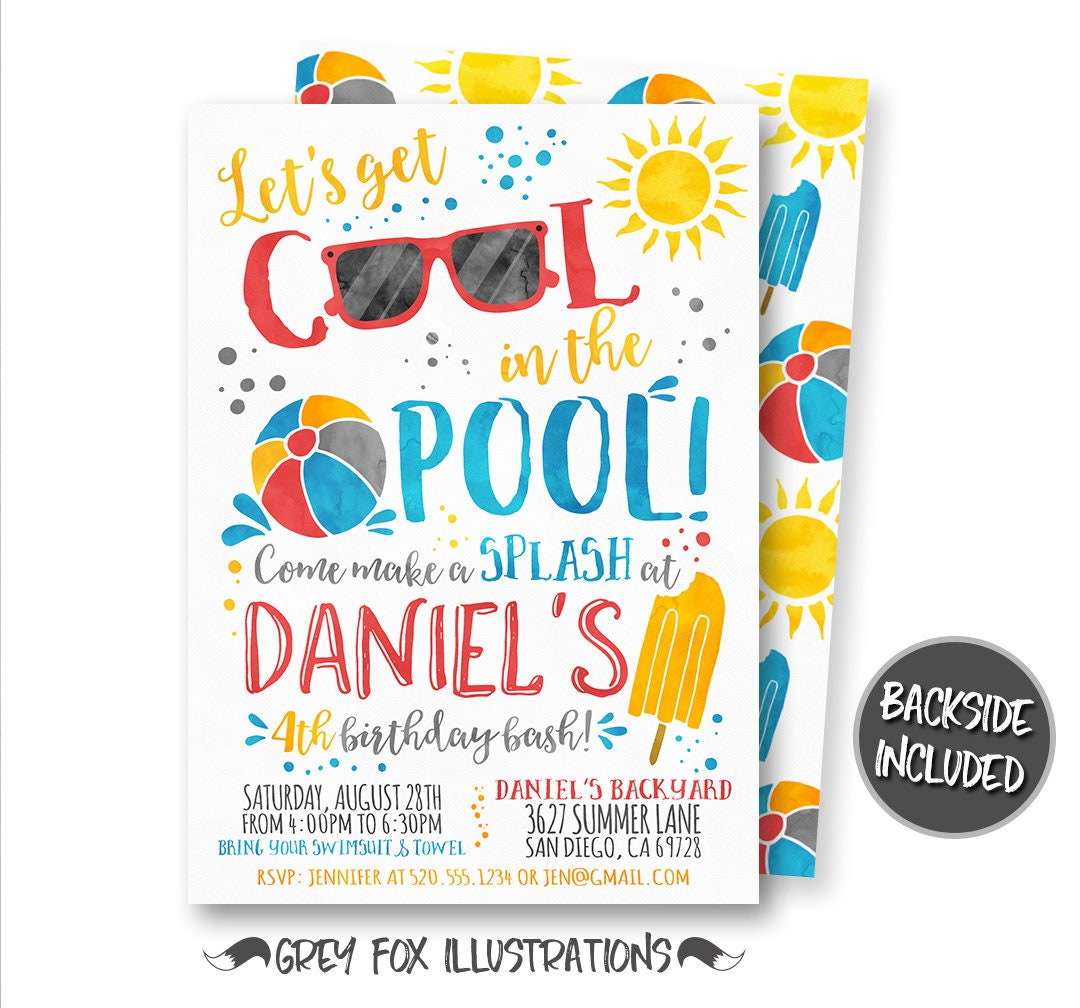 Pool Party Invitation Summer Party Invitation Watercolor | Etsy