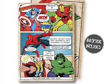 Comic Book Birthday Invitation, Avengers Invitation, Super Heroes Invitations, Personalized Invitation, Printables, Invites, Hulk, Thor