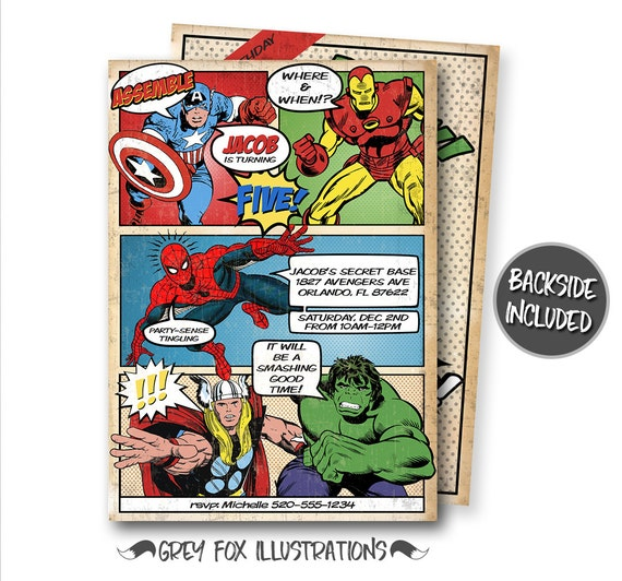 Comic Book Birthday Invitation Avengers Super Heroes Invitations Personalized Printables Invites Hulk Thor