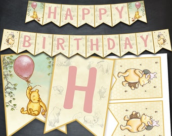 Winnie The Pooh Banner, Winnie The Pooh Birthday Banner, Pooh Party, Printables, Classic Winnie Pooh, Party, Favors, Banner Flags, Digital