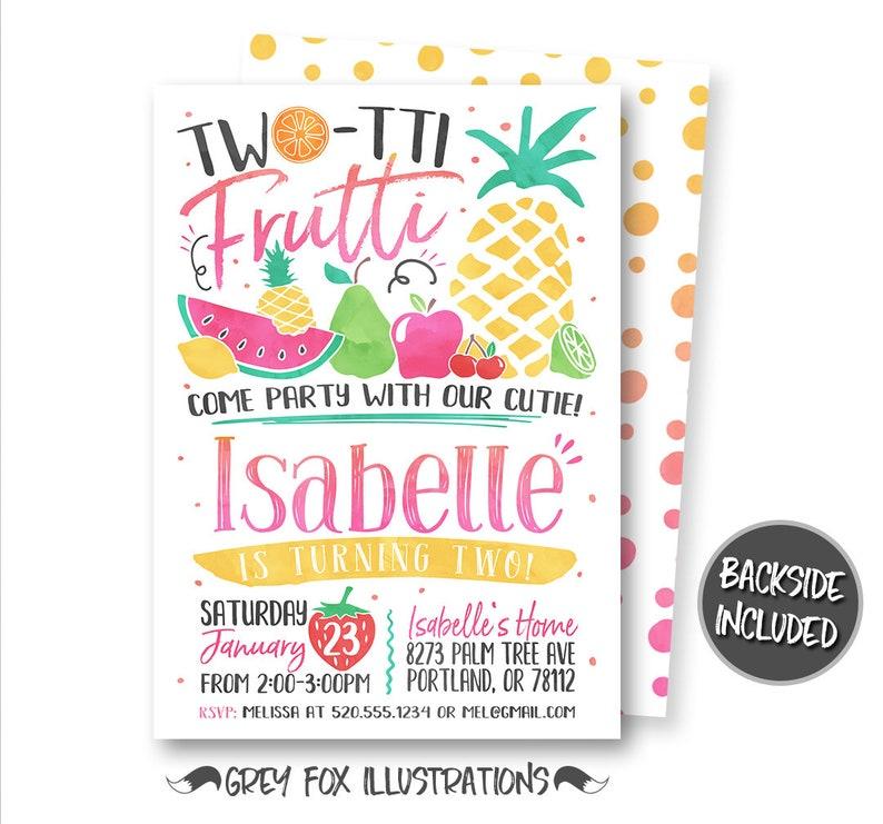 Two Tti Frutti Invitation Tutti Birthday