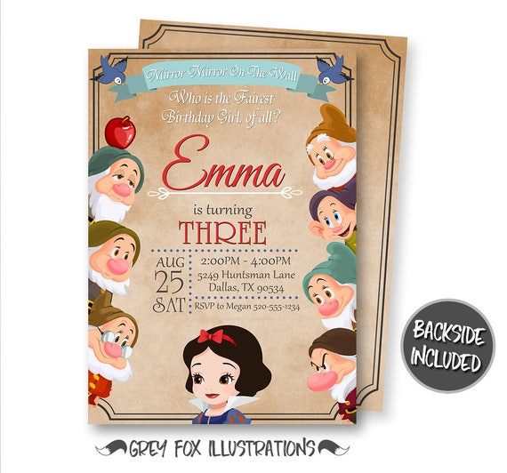 graphic about Snow White Invitations Printable referred to as Snow White Invitation, Snow White Birthday Invitation, Snow