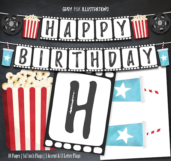 Movie Night Banner Movie Birthday Banner Movie Party Movie Etsy