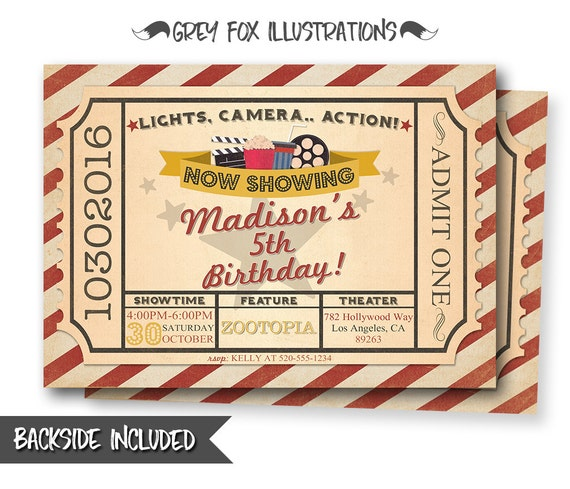 photograph about Printable Movie Ticket Invitation known as Video clip Ticket Invitation, Video Birthday Invitation, Ticket