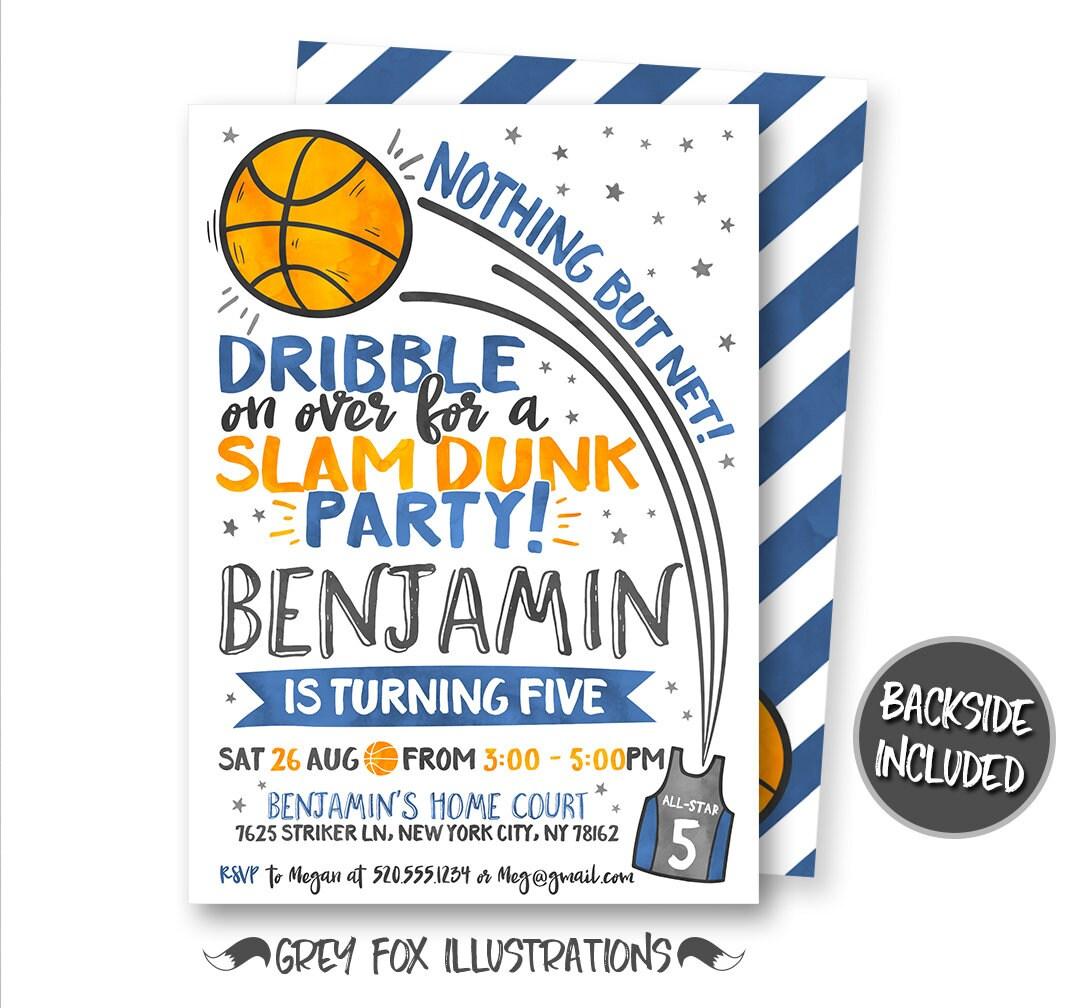 Basketball Birthday Invitation Basketball Invitation | Etsy