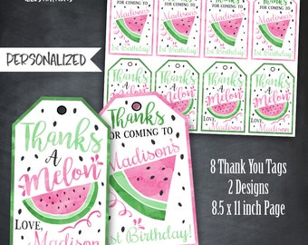 Watermelon Thank You Tags, Watermelon Tags, Watermelon Party, Watermelon Birthday, Watermelon Printables, Digital, Personalized, Digital