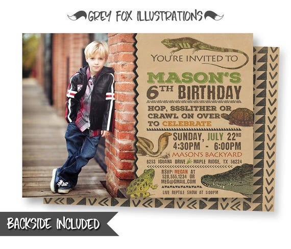 Reptile Birthday Invitation Reptile Picture Invitation Reptile