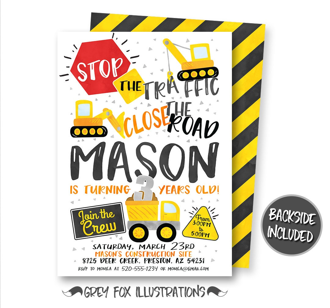 Construction Birthday Invitation Yellow Dump Truck | Etsy