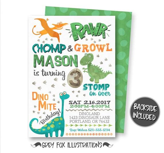 Dinosaur Invitation Birthday Invitations Party Printables Personalized T Rex