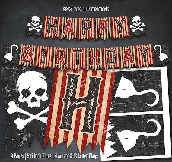 Pirate Skull Birthday Personalized Banner