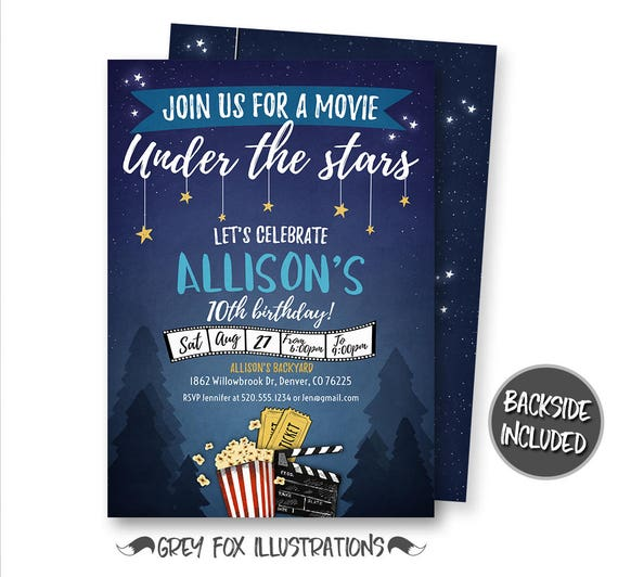 movie night invitation movie under the stars invitation etsy