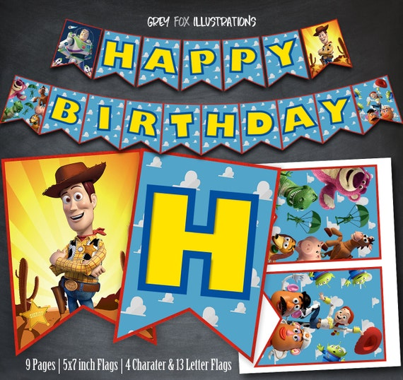 Toy Story Birthday Banner Happy Printable Woody Party Flags