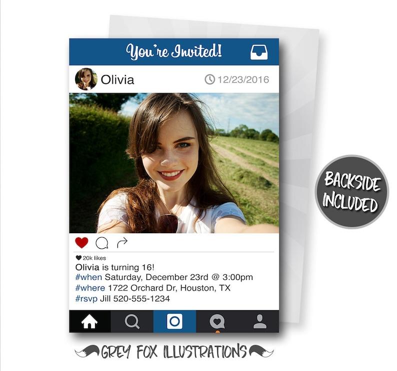 Instagram Birthday Invitation Instagram Invitation Instagram Etsy