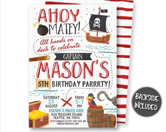 Pirate Invitation, Pirate Birthday Invitation, Pirate Party, Pirate Ship, Treasure Map Invitation, Personalized, Printables, Digital, DIY