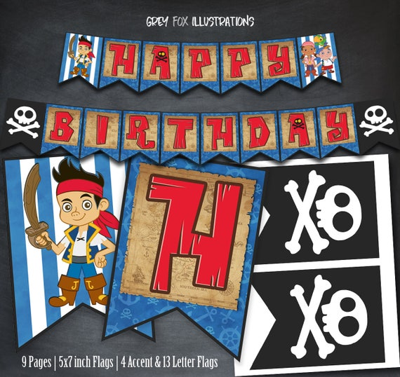 Jake And The Neverland Pirates Banner Happy Birthday Banner