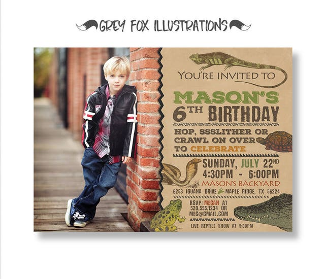 Reptile Birthday Invitation Picture Printable Lizard Invite Snake