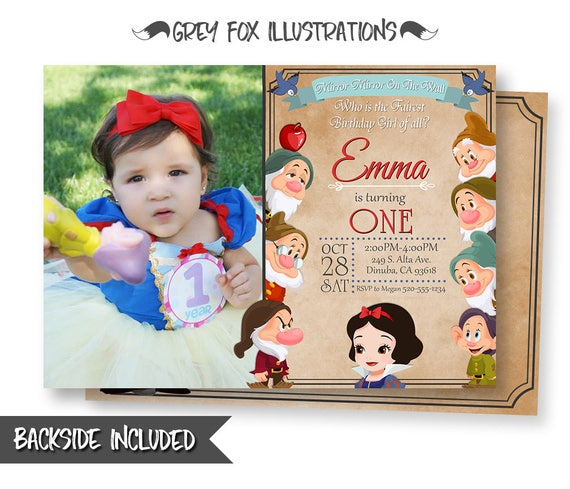 graphic relating to Snow White Invitations Printable called Snow White Invitation, Snow White Birthday Invitation, Snow