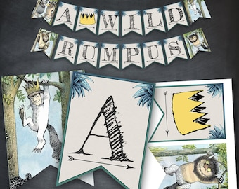 Where The Wild Things Are Banner, Wild Rumpus Birthday Banner, Max Party Printables, Where The Wild Things Are Party, Favors, Banner Flags