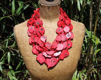 Chunky red coral necklace, coral bib necklace, red coral statement necklace, multi strand coral necklace, chunky coral bib necklace
