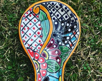 Colorful Kitchen Ceramic Spoon Rest - Hand Painted - Mexican Style