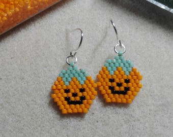 Earrings woven with Japanese beads Miyuki - pumpkins