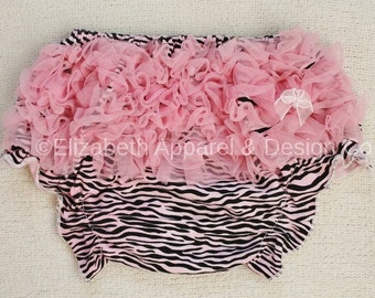 4b055fa893bf26 Baby Girl Chic Pink Black White Zebra Animal Print Ruffle Bloomers Diaper  Cover Zebra Stripes Shabby Chic Bow and Pearl