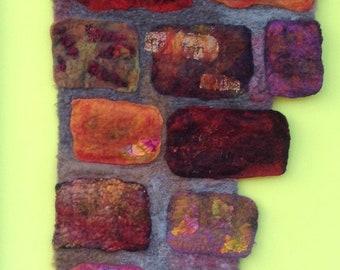 Hand felted wall hanging, wall art, fibre art