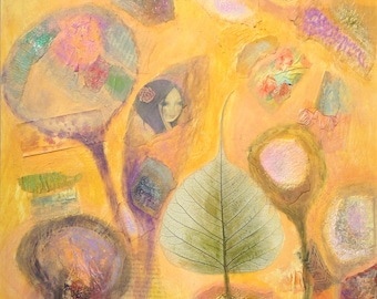 Mounted, abstract mixed media painting on paper, yellow, green, pink original art