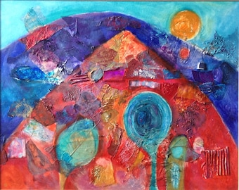 Original abstract mixed media painting , framed Fine Art, blue and red