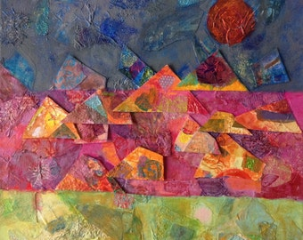 Abstract mixed media oil painting, red, green and blue shades