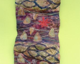 3D Mixed media, textile, sculpture wall art,