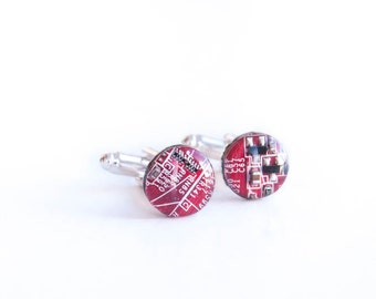 Red Recycled circuit board cufflinks. Valentine's day gift for Computer geek. Computer nerd accessories