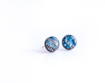 Blue Circuit board earrings. Small - 10mm resin earrings. Computer geek gift. Computer nerdy earrings. Earrings with recycled motherboard