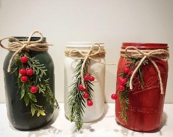 Holiday mason jars, Christmas mason jars
